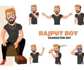 Rajput boy cartoon vector