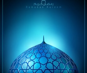 Ramadan Kareem background glow light mosque dome with arabic pattern vector