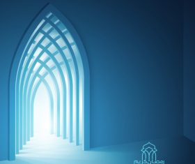 Ramadan Kareem background islamic interior mosque with beam of light vector
