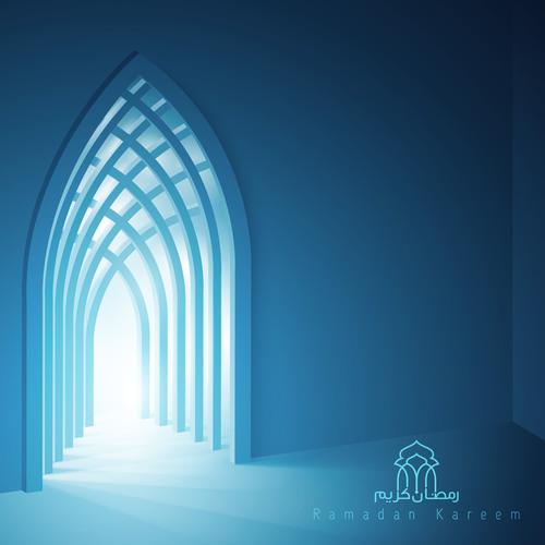 Ramadan Kareem background islamic interior mosque with beam of light vector