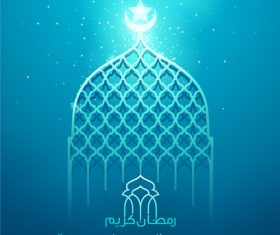 Ramadan Kareem blue glow mosque islamic greeting vector