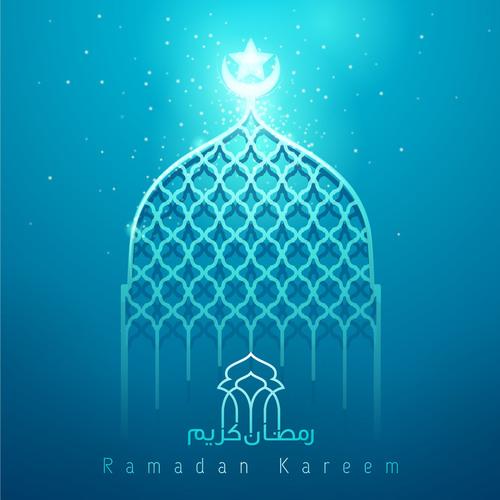 Ramadan Kareem blue glow mosque islamic greeting vector