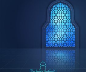 Ramadan Kareem greeting background light mosque window vector