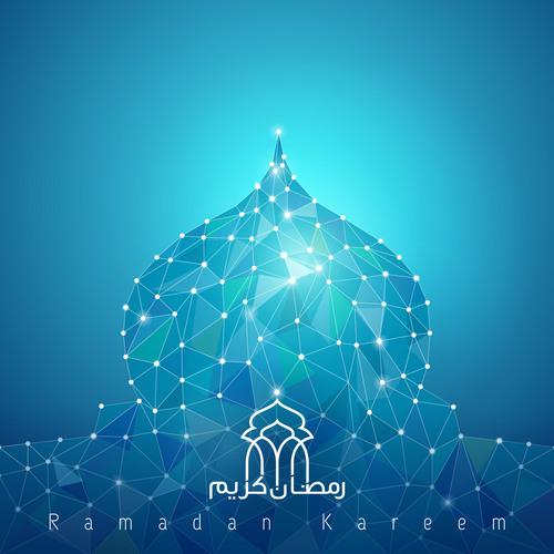 Ramadan Kareem line mosque dome vector