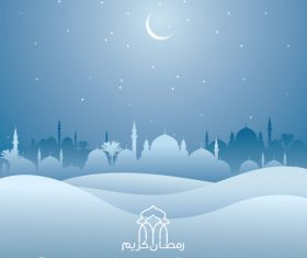 Ramadan kareem mosque and desert silhouette islamic background vector