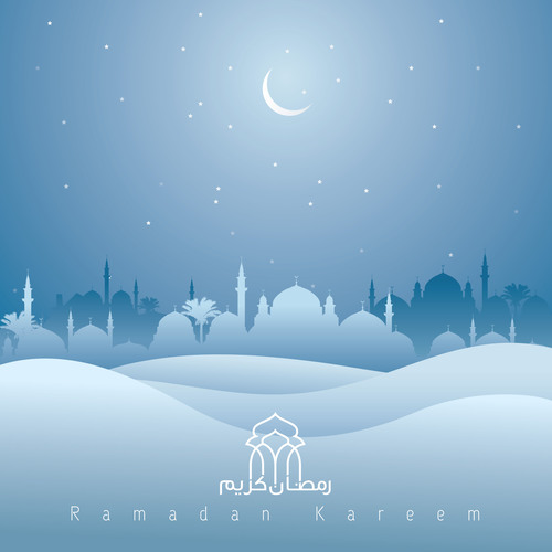 Ramadan kareem mosque and desert silhouette islamic background vector