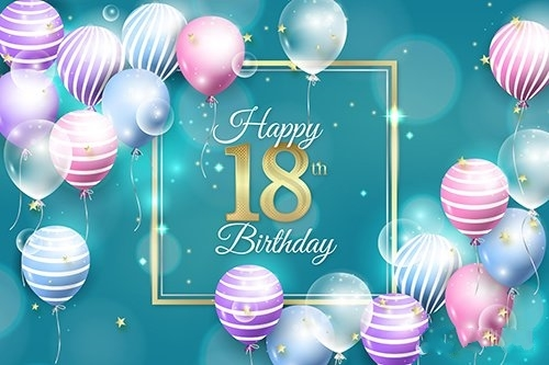 Realistic Style 18th Birthday Background
