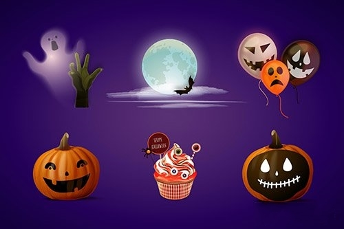 Realistic halloween element collection vector