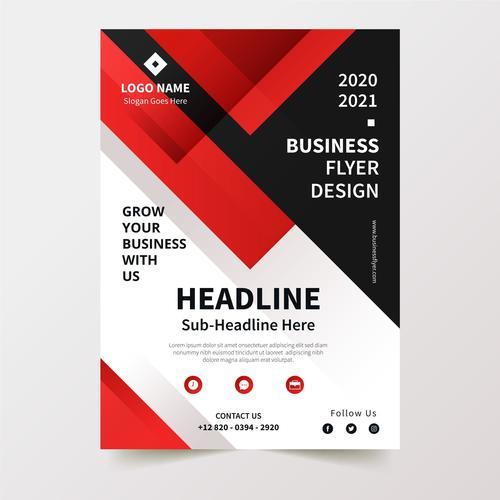 Red and black stripes background business flyer design vector