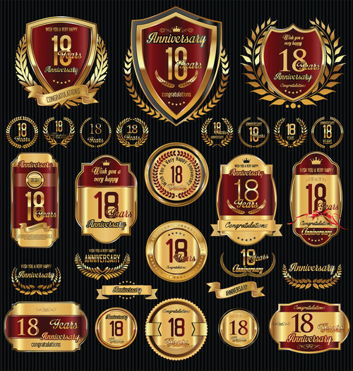 Red and golden anniversary badges vector