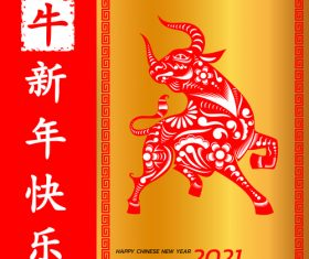 Red background year of the ox 2021 vector