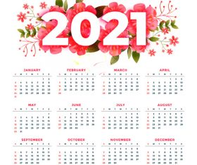 Red flower 2021 calendar vector