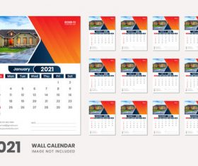 Residential background 2021 wall calendar vector