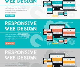 Responsive web design flat concept vector