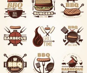 Retro BBQ logo vector