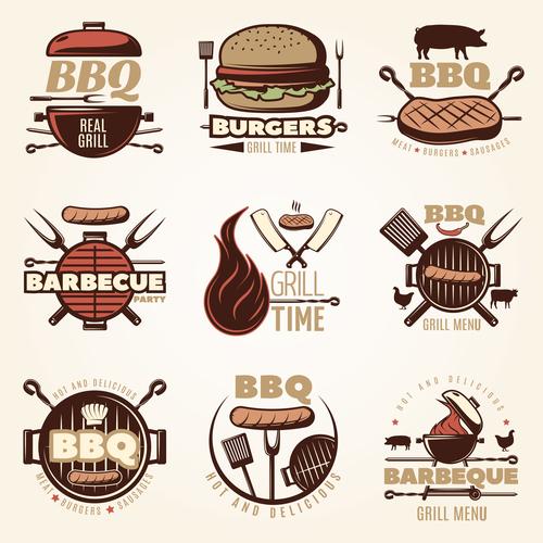 Retro BBQ logo vector