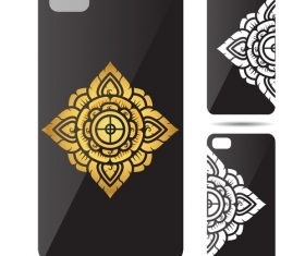 Rhombus mandala art pattern phone cases cover vector