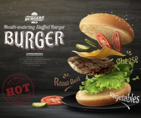 Roast beef hamburger 3d illustration advertising vector
