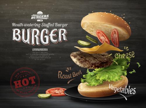 Roast beef hamburger 3d illustration advertising vector