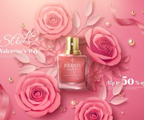 Rose flower fragrance water vector