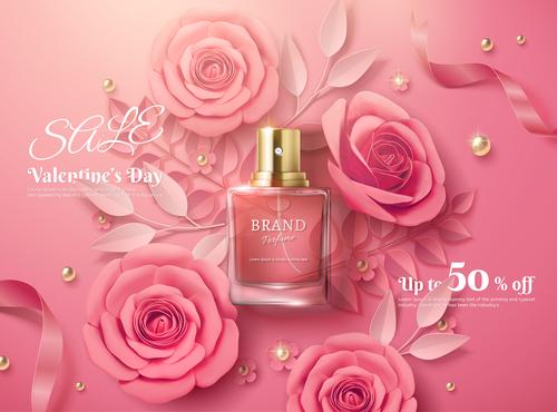 Rose flower fragrance water vector