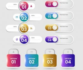 Round button business chart options options vector