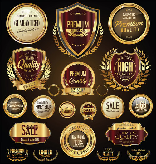Sale shields laurel wreaths and badges vector