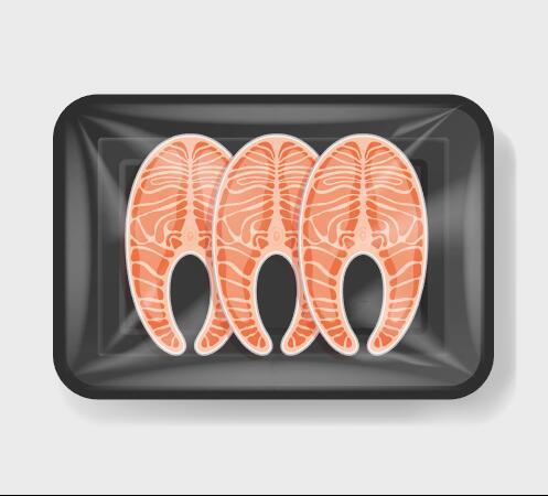 Salmon vacuum preservation plastic container vector