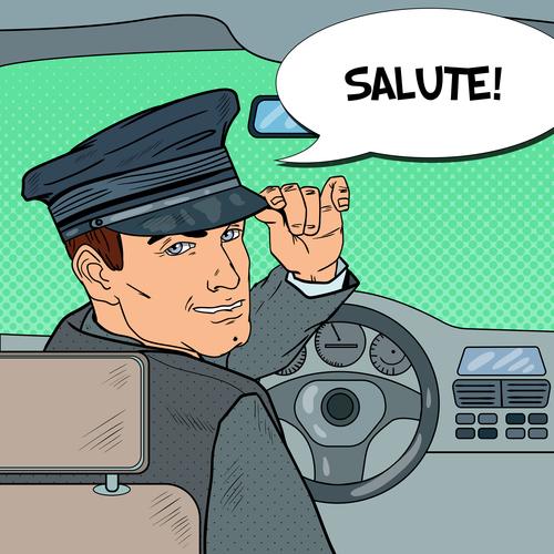 Salute taxi driver cartoon vector