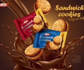 Sandwich cookies advertising vector