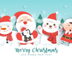Santa Claus and friends greeting card vector