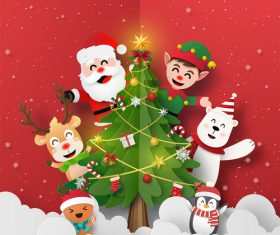 Santa Claus and friends with Christmas tree vector
