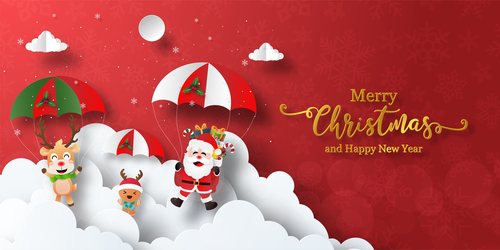 Santa Claus falling from the sky vector