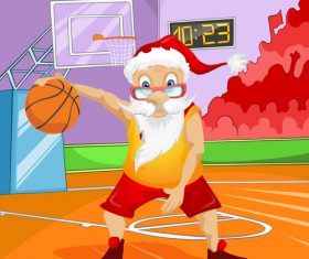 Santa Claus playing basketball vector