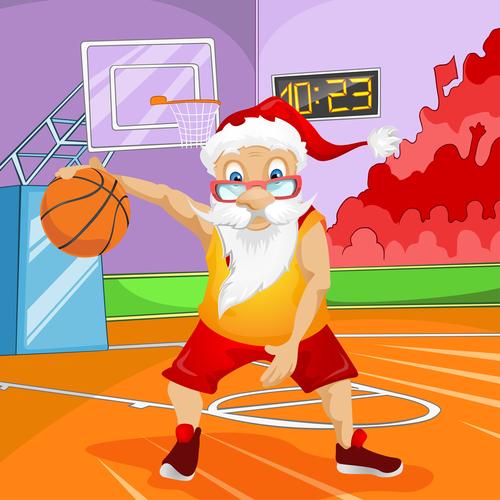 Santa Claus playing basketball vector