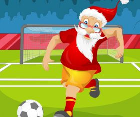 Santa Claus playing football vector