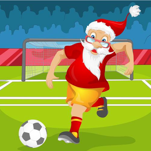 Santa Claus playing football vector