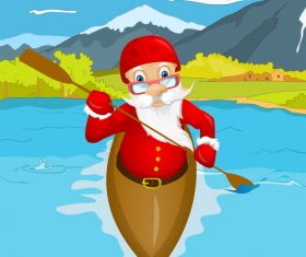 Santa Claus playing kayaking vector