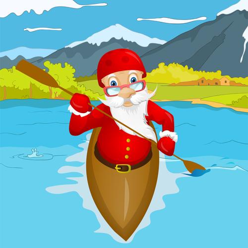 Santa Claus playing kayaking vector