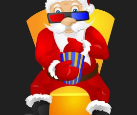 Santa Claus watching a three-dimensional movie vector