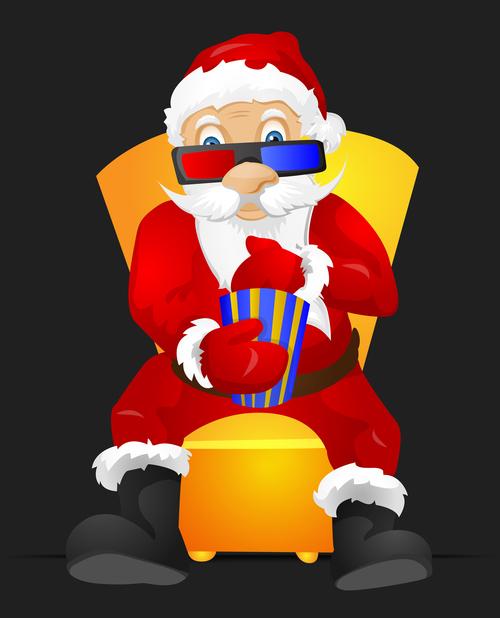 Santa Claus watching a three dimensional movie vector