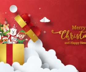 Santa and friends hiding in gift box vector