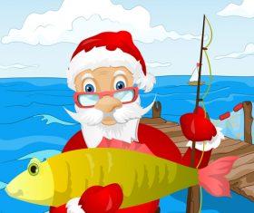 Santa claus fishing vector