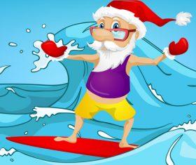 Santa surfing vector