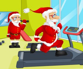 Santa vector in the gym