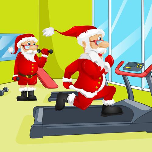 Santa vector in the gym