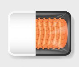 Sausage vacuum preservation plastic container vector