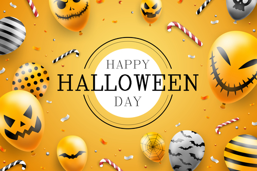Scary balloon emoji halloween illustration vector