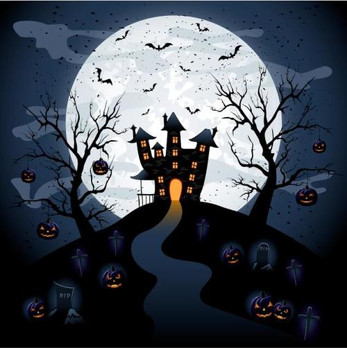 Scary graveyard haunted house vector