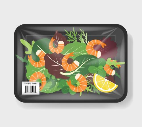 Seafood and vegetable vacuum preservation plastic container vector